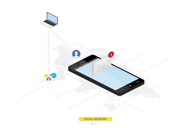 3D isometrisch concept Het nieuwe pictogram van het berichtbericht in smartphone tegen de achtergrond van de wereldkaart Vectoril stock illustratie