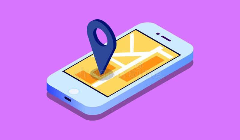 3d isometrisch mobiel GPS-navigatieconcept, Smartphone met de toepassing van de stadskaart en de wijzer van de tellersspeld, vect stock illustratie