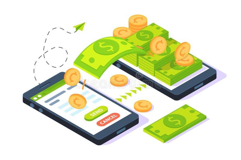 3d isometrisch mobiel verzendend geld met dollars en gouden muntstuk royalty-vrije illustratie