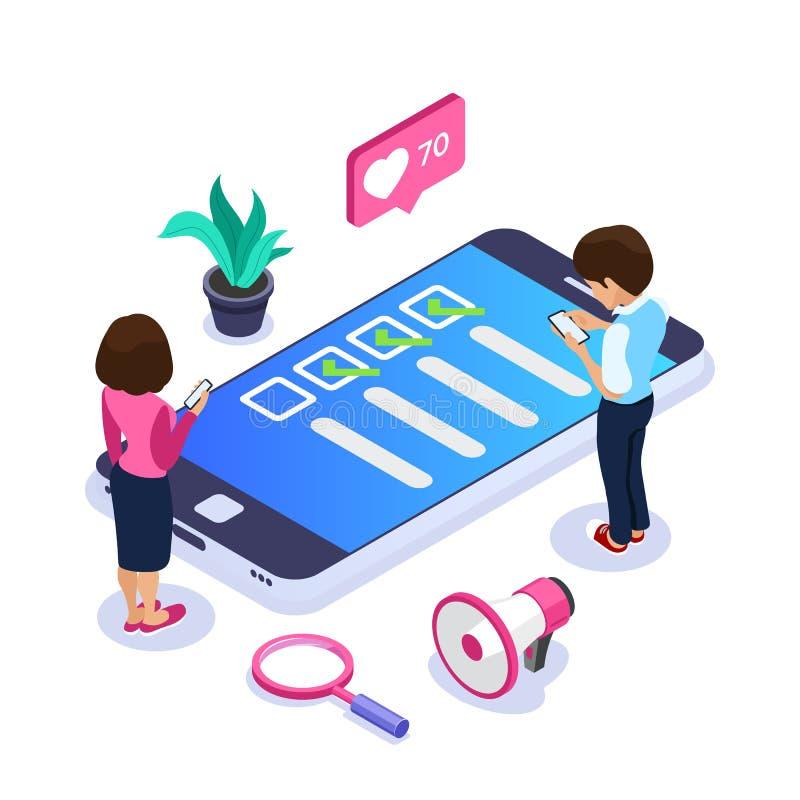 3d Isometrisch online onderzoeksconcept De stem of de de controlelijstman en vrouw van mobiele apparaten onderzocht op de plaats  royalty-vrije illustratie