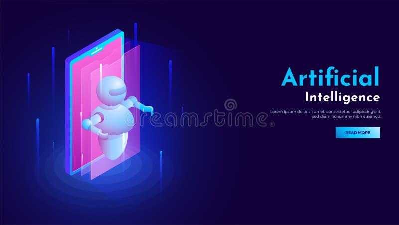 3D isometrisch ontwerp van smartphone met robotillustratie voor AR vector illustratie