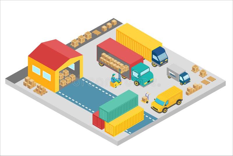 3d isometrisch proces van het pakhuisbedrijf De pakhuis buitenbouw vierkant met vrachtwagens en containers levering vector illustratie