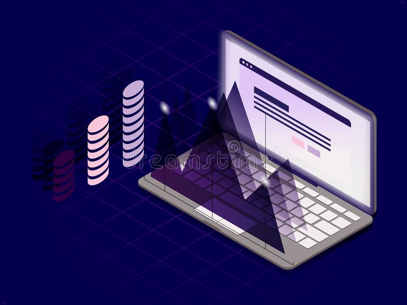 3d isometrisch vlak ontwerp met laptop en infographic elementen C stock illustratie