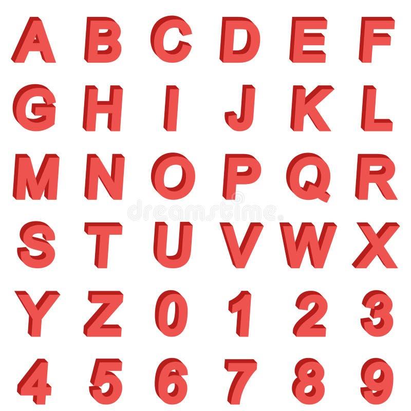 3D isometrische alfabetdoopvont Letters en getallen Driedimensionele eenvoudige voorraadvector royalty-vrije illustratie
