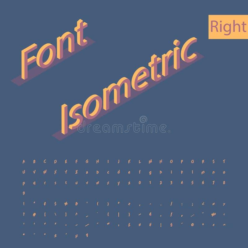 3D isometrische alfabetdoopvont Letters, getallen en symbolen Drie vector illustratie