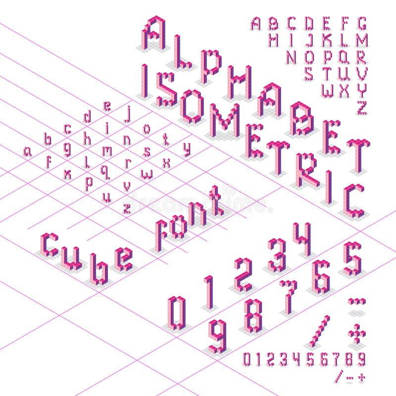 3d isometrische alfabetdoopvont van kubussen vector illustratie