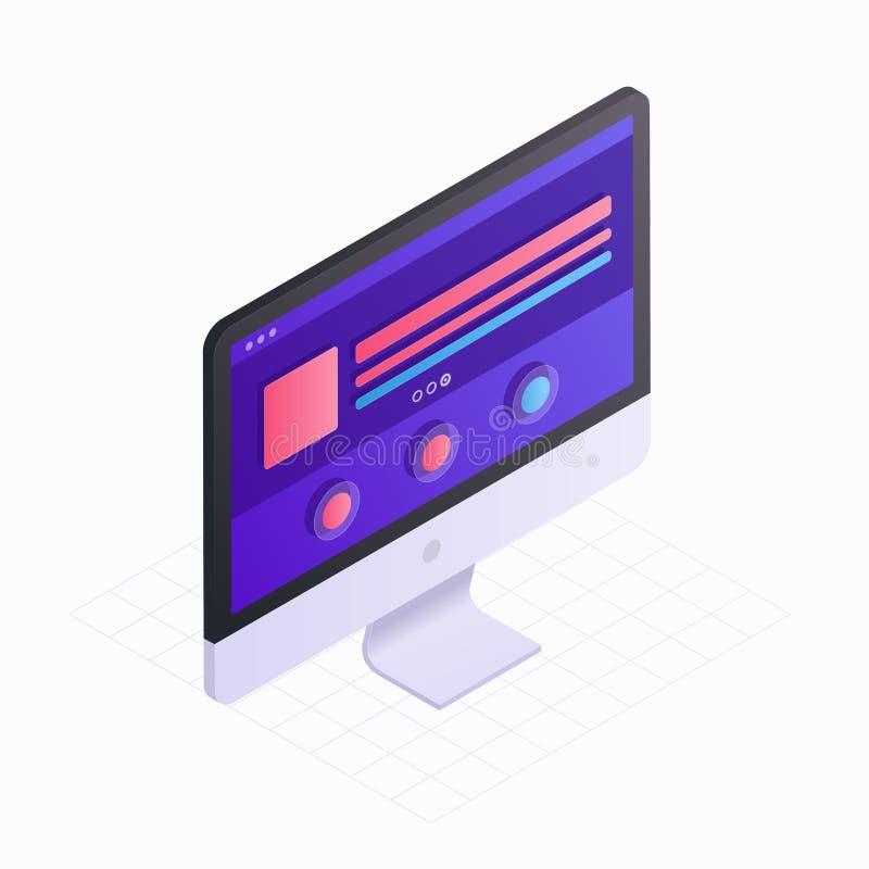 3D Isometrische computerscherm in vlakke ontwerp vectorillustratie LCD monitorpictogram op witte achtergrond wordt geïsoleerd die vector illustratie