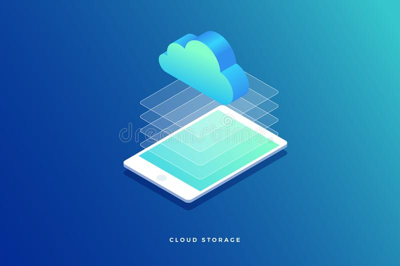 3D isometrische computertablet De informatie van de wolkenopslag stock illustratie