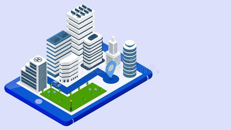 3d isometrische illustratie van slimme stadsmening met taxi het volgen plaats van smartphone stock illustratie
