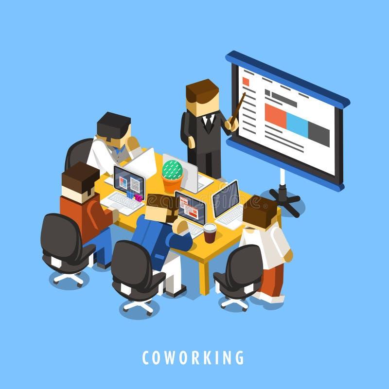 3d isometrische infographic van het Coworkingsconcept stock illustratie