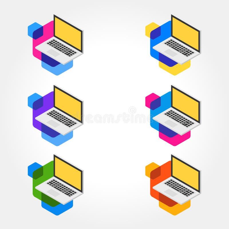 3d Isometrische Laptop Pictogramreeksen vector illustratie