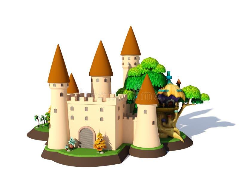 3D isometrische middeleeuwse die kasteel van het fantasiebeeldverhaal op witte achtergrond wordt geïsoleerd stock illustratie