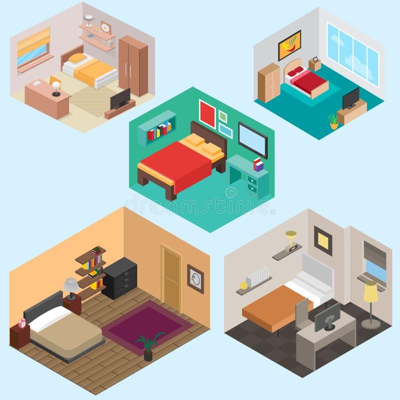 3d Isometrische slaapkamer vectorreeks royalty-vrije illustratie
