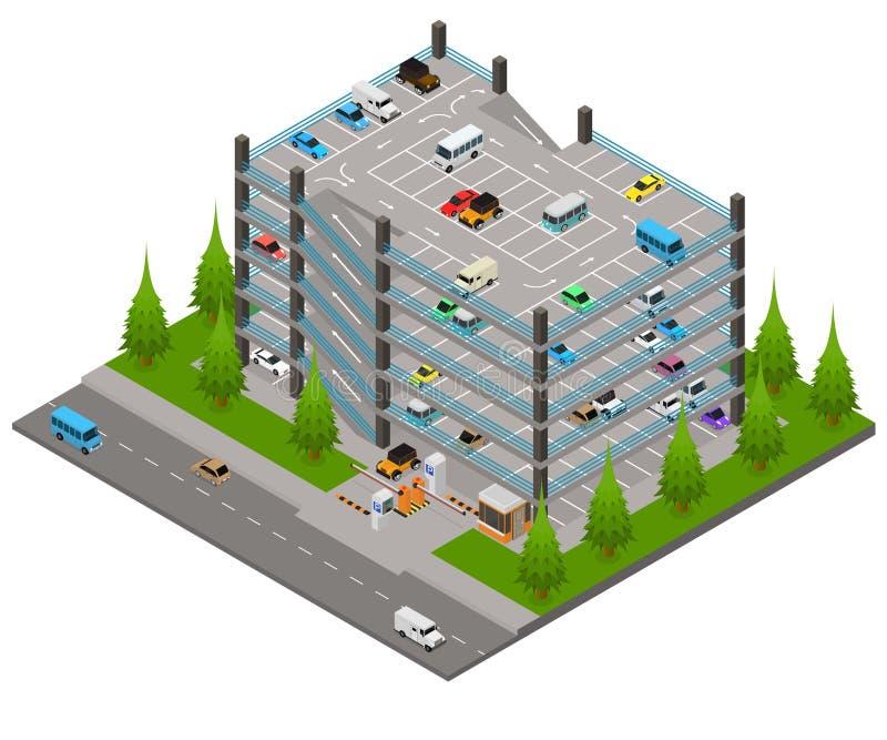 3d Isometrische Weergeven van het Parkeerterreinconcept met meerdere verdiepingen Vector royalty-vrije illustratie