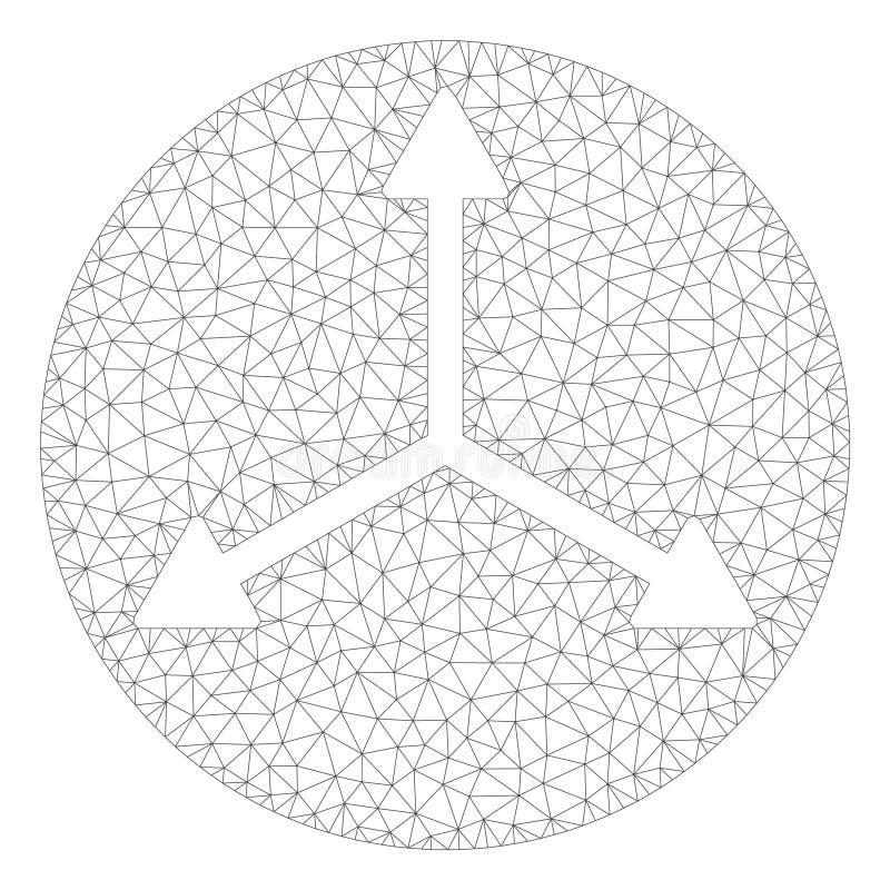 3D Isometry kierunków siatki Poligonalna Ramowa Wektorowa ilustracja ilustracja wektor