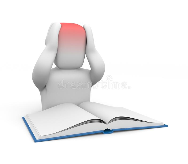 3D istota ludzka z migreną od pracy domowej lub czytania ilustracja wektor