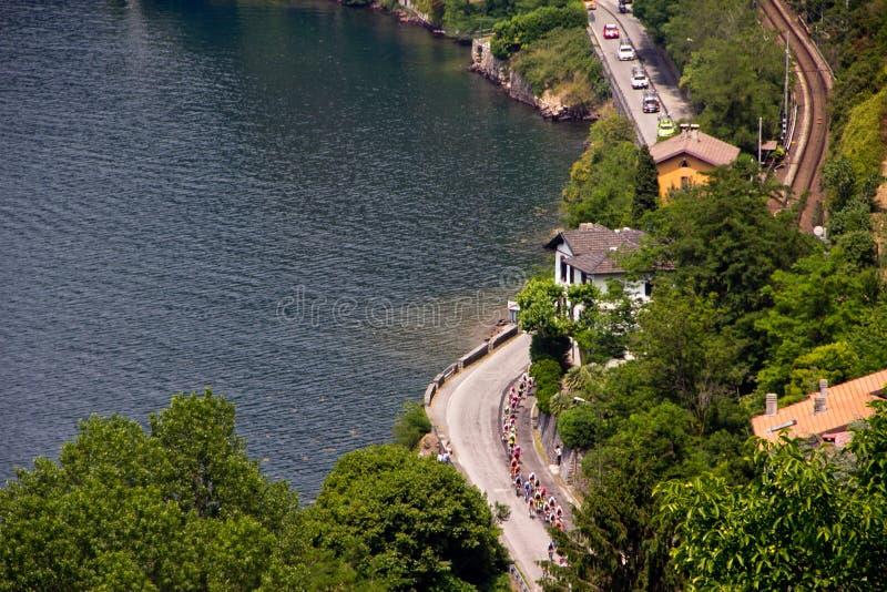 d'Italia 2011 do Giro no lago Como (26/05/2011) imagens de stock royalty free