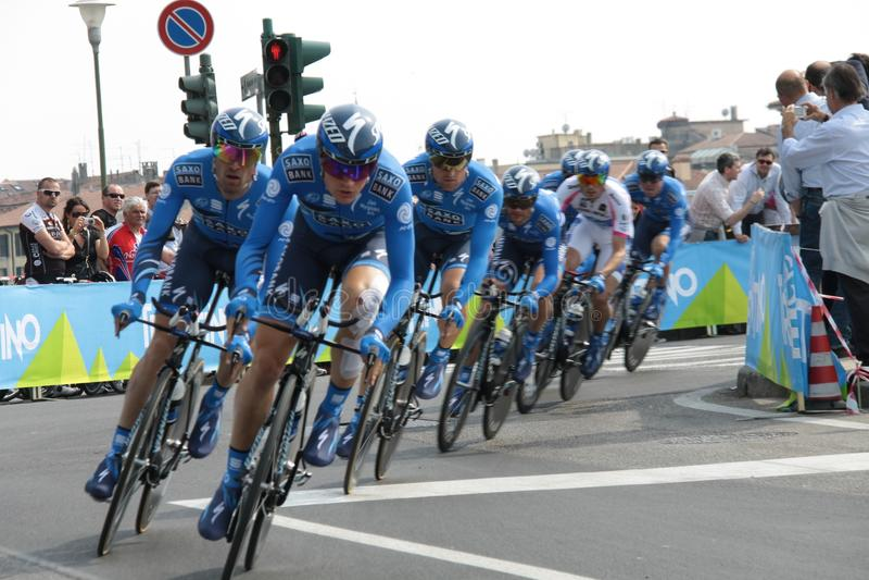 d'Italia van de giro - het team van de BANK SAXO stock foto's