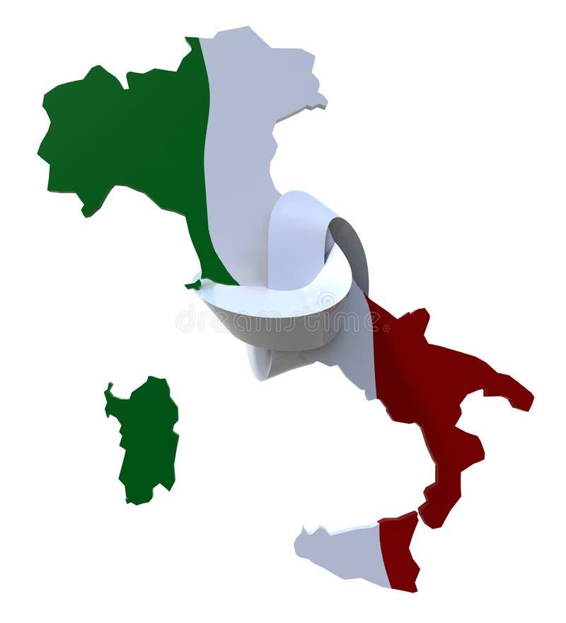 3d Italien gefärbt mit italienischer Flagge und geknotet lizenzfreie abbildung