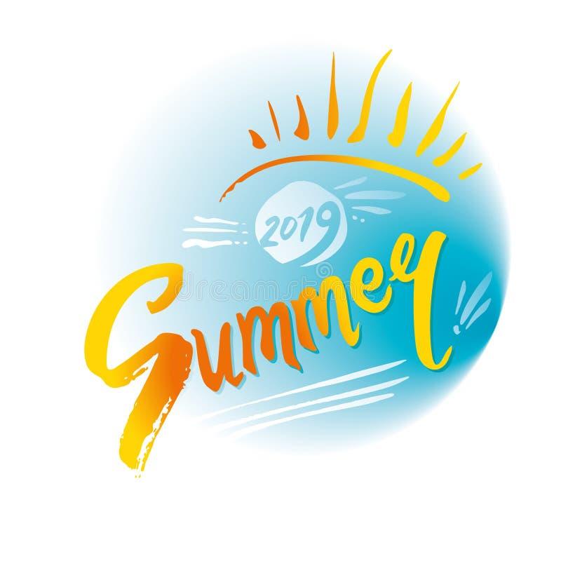 3 d ivy logo na lata styl 2019 lato Turkusowy denny i promienie ręcznie pisany pogodna inskrypcja i słońce Jaskrawa Sezonowa etyk ilustracja wektor