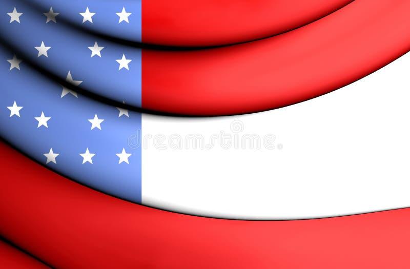 3D J P Gillis flaggaflagga, Kalifornien stock illustrationer