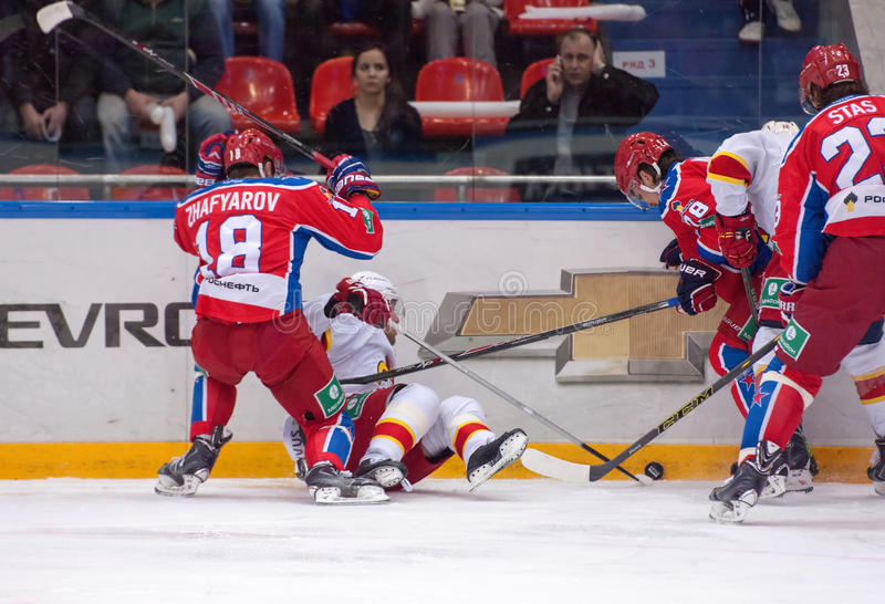 D. Jafyarov (18) attack R. Helenius (31) royalty free stock images