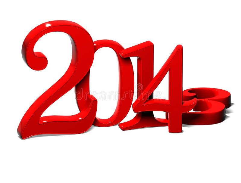 3D Jahr 2014 auf weißem Hintergrund stock abbildung