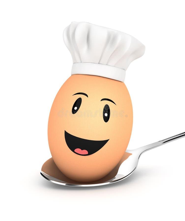 3d jajeczny szef kuchni na łyżce ilustracja wektor