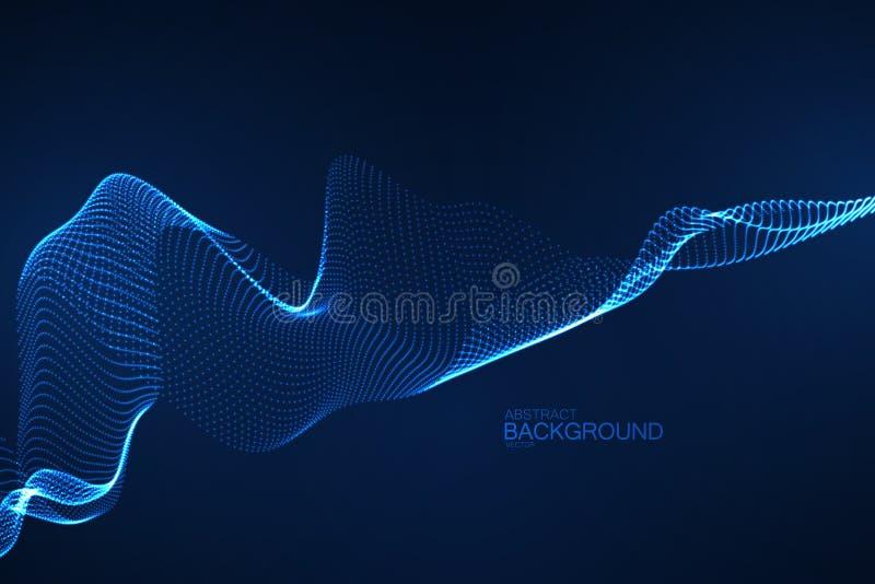 3D jarzy się neonową cyfrową fala cząsteczki ilustracja wektor