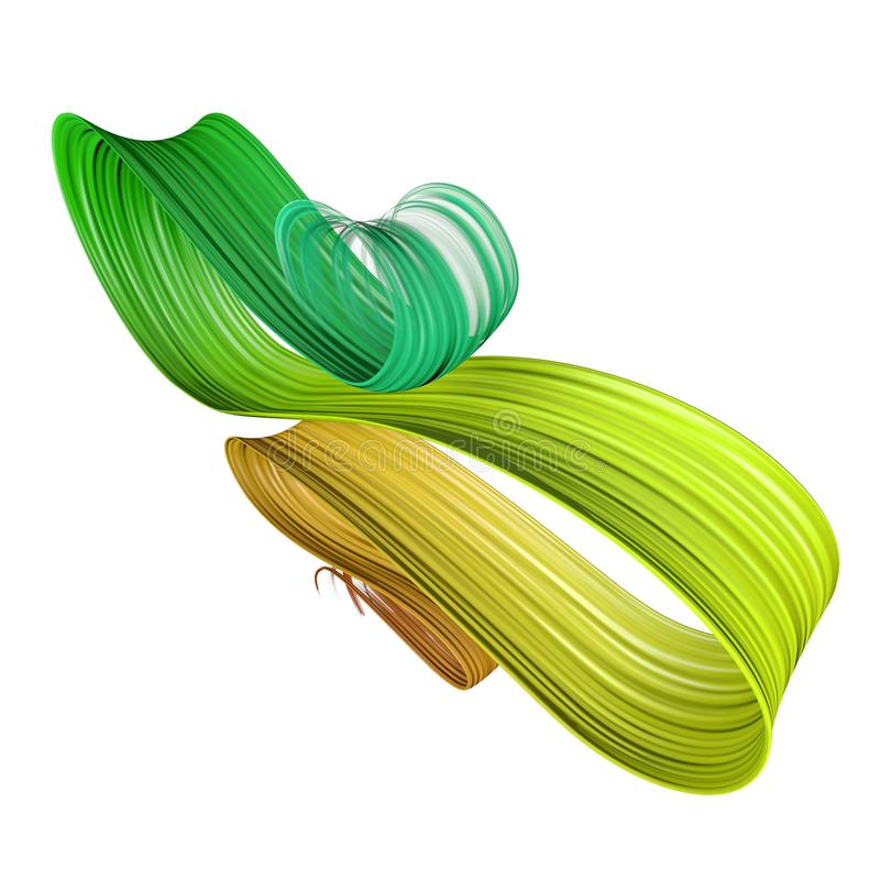 3D jaune et vert a plié la course de peinture de brosse illustration de vecteur