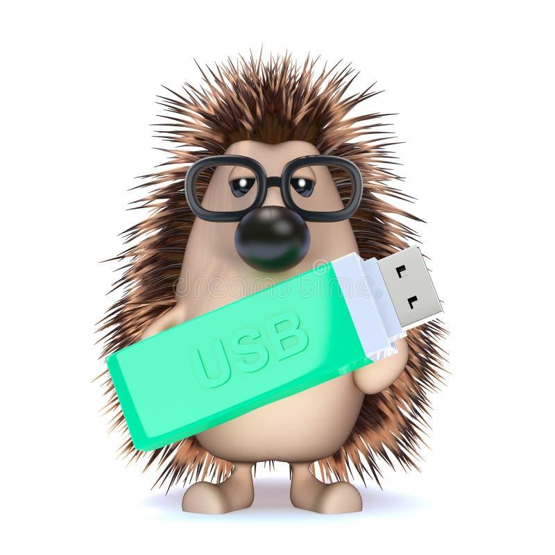 3d jeż z USB pamięci kijem ilustracji