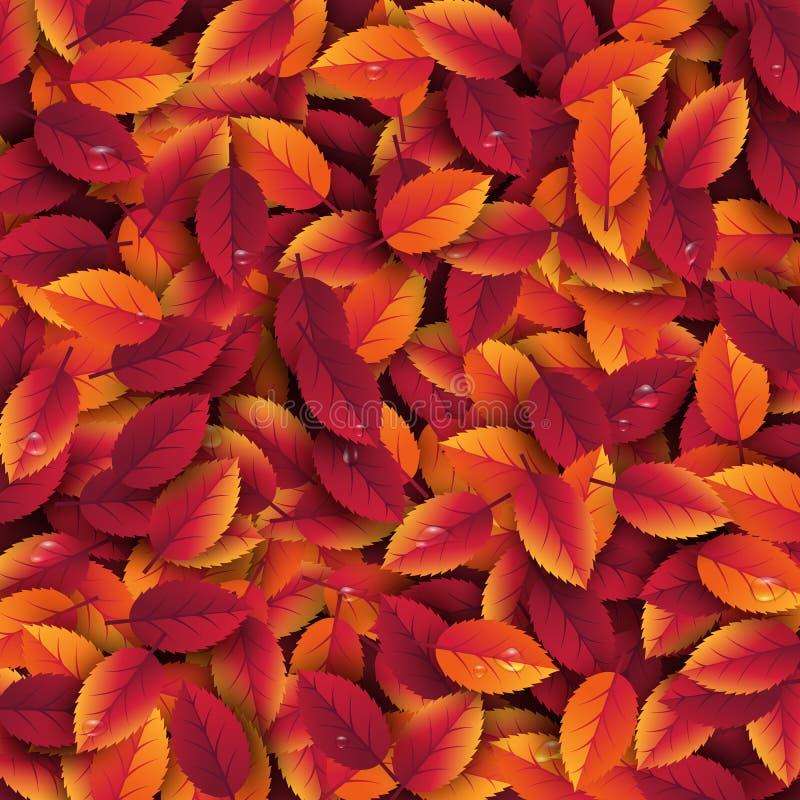 3d jesieni realistyczni liście z wody kroplą Jesienny tło w czerwieni, pomarańcze i kolorów żółtych kolorach, Projekt dla sieci,  ilustracja wektor