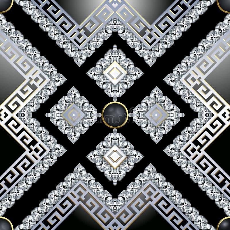 3d Jewelry Diamonds vector seamless pattern. Greek ornamental brilliants background. Abstract geometric repeat backdrop vector illustration