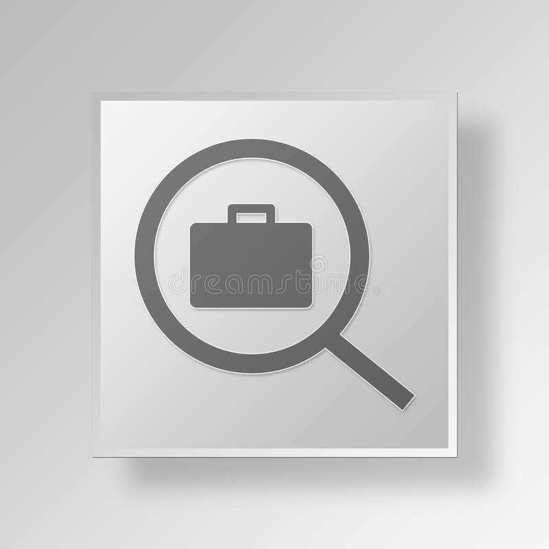 Download 3D Job Search Button Icon Concept Stock Abbildung - Illustration von kugel, stab: 90231197