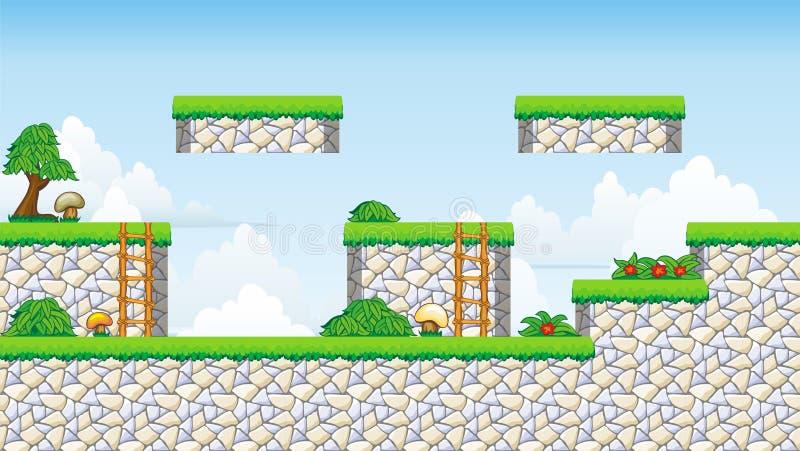 2D jogo da plataforma de Tileset ilustração royalty free