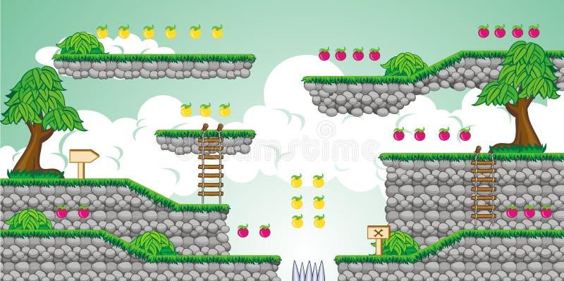 2D jogo 23 da plataforma de Tileset ilustração stock