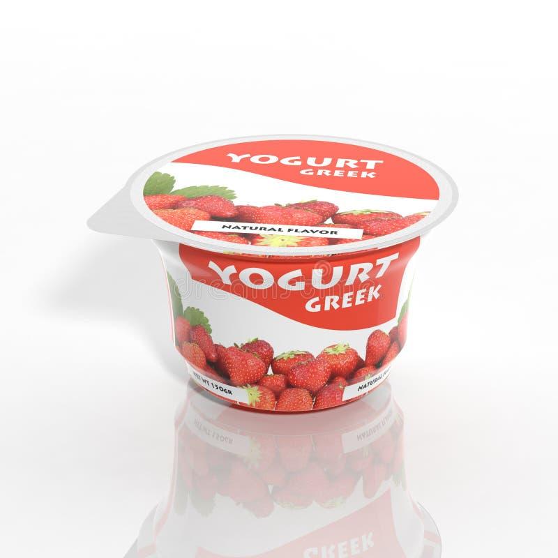 3D jogurtu plastikowy zbiornik ilustracji