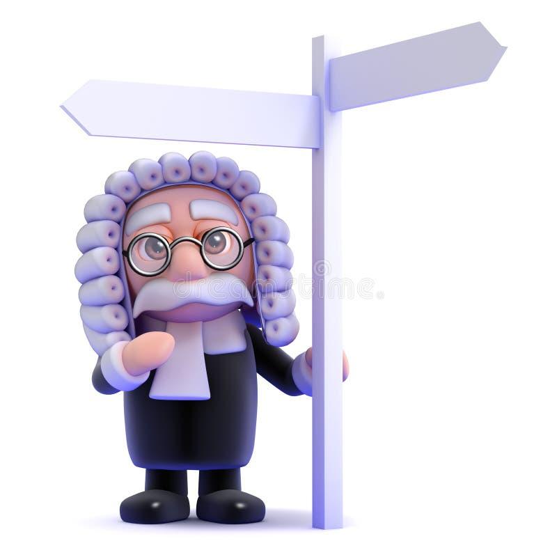 3d Judge at signpost. 3d render of a judge at a signpost vector illustration