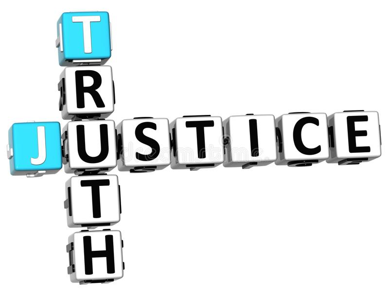 3D justice Truth Crossword illustration stock