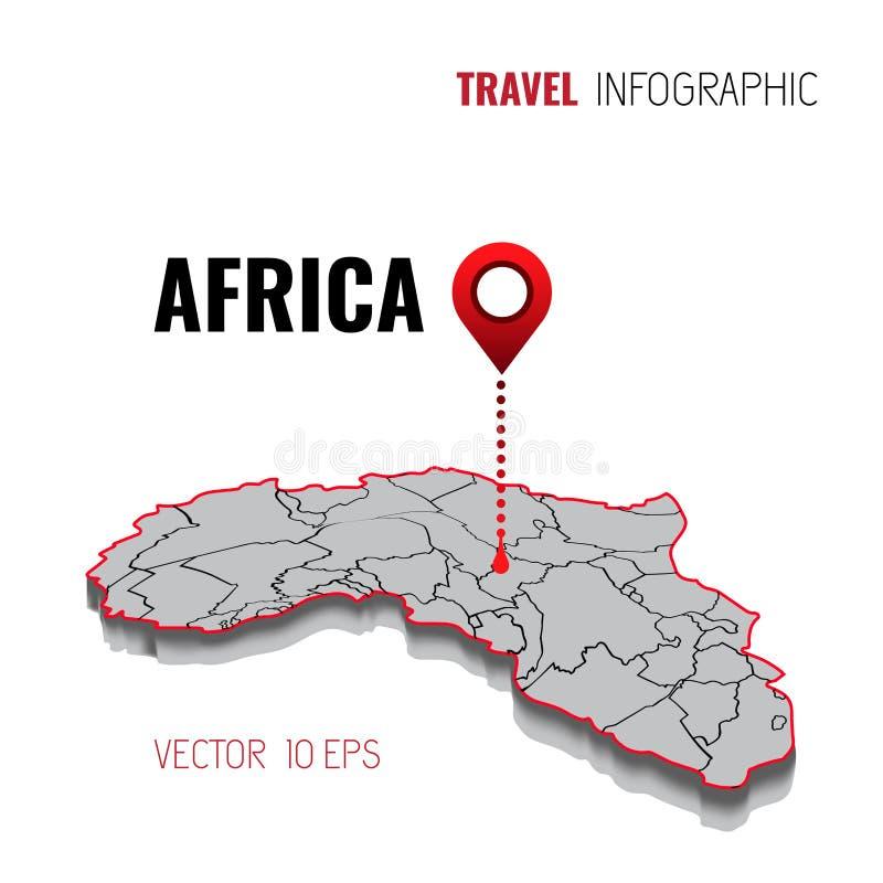 3D Kaart van Afrika GPS Navigatorspeld die groene kleur controleren op witte achtergrond Infographics voor uw zaken Vector illust vector illustratie