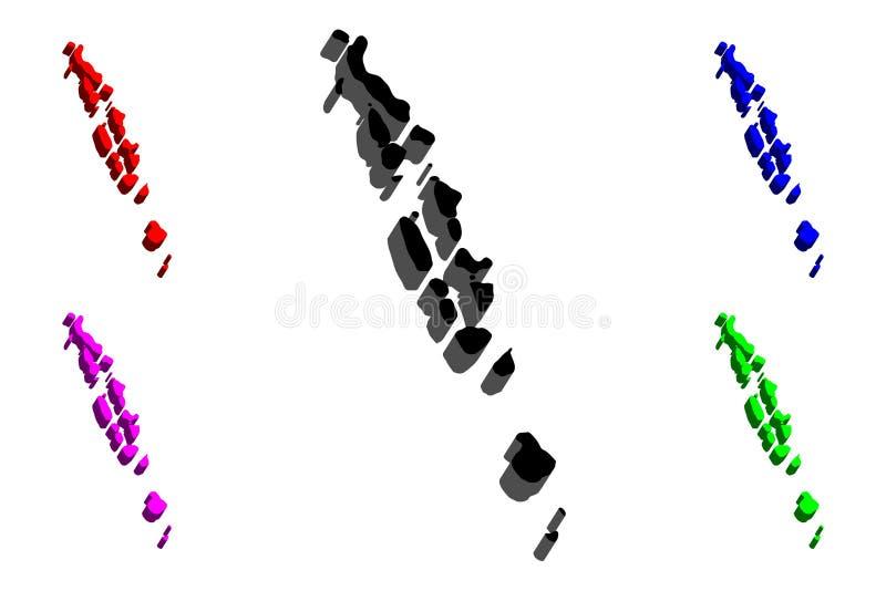 3D kaart van de Maldiven vector illustratie