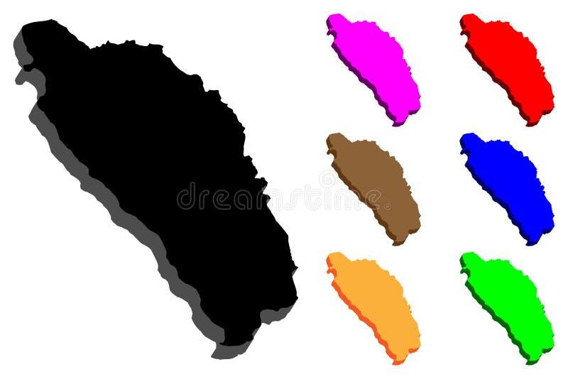 3D kaart van Dominica vector illustratie