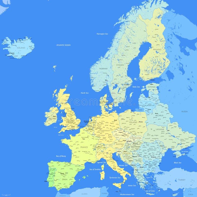 3D Kaart van het Land van de Kleur van Europa stock illustratie