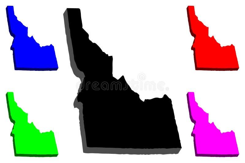 3D kaart van Idaho stock illustratie