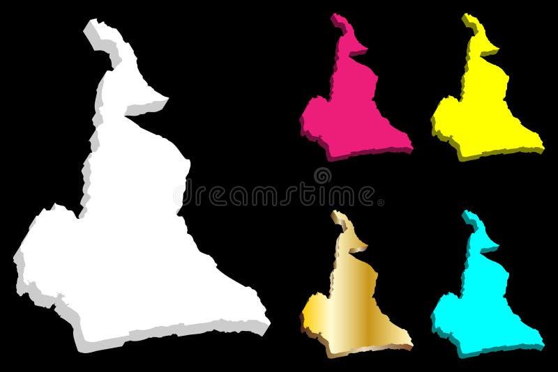 3D kaart van Kameroen royalty-vrije illustratie