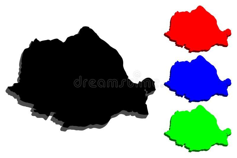 3D kaart van Roemenië royalty-vrije illustratie