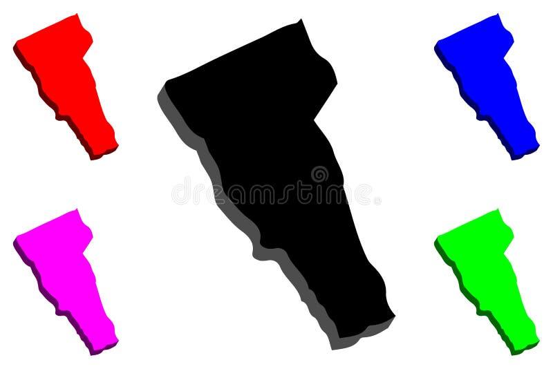 3D kaart van Vermont vector illustratie