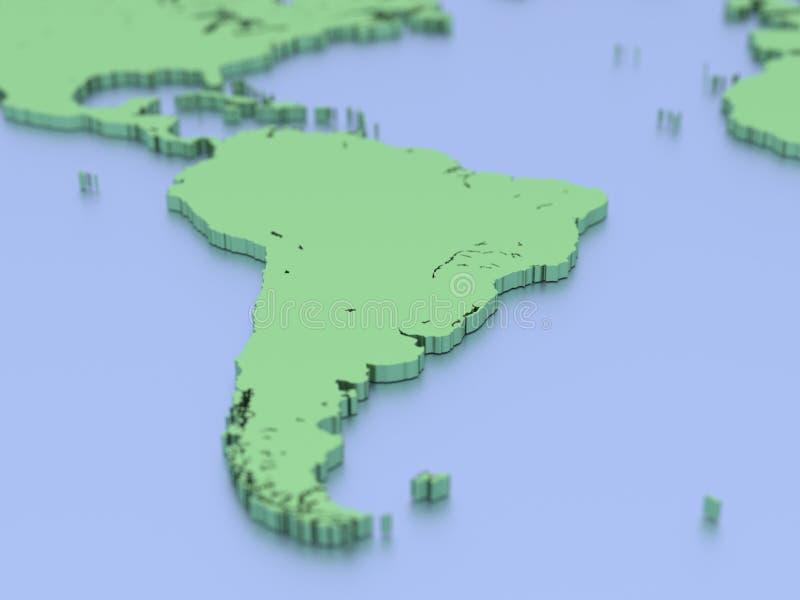 3D kaart van Zuid-Amerika royalty-vrije illustratie