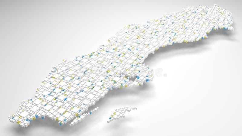3D kaart van Zweden - Europa stock foto's