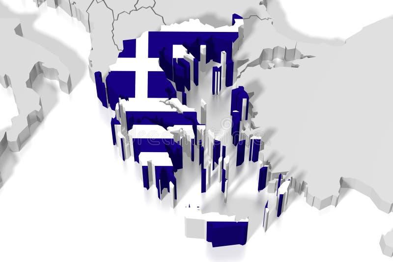 3D kaart, vlag - Griekenland royalty-vrije illustratie